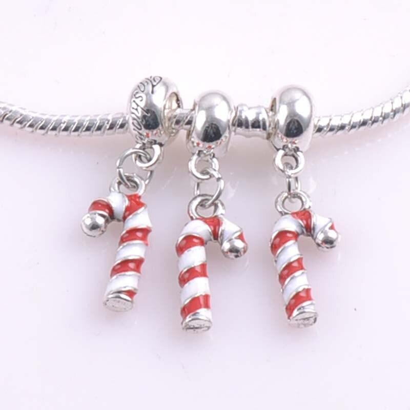 6b5d8643fb0d 1 unids 20x9mm plata Navidad Candy Cane espaciadores Cuentas Amuletos  Pandora Amuletos pulseras joyería hecha a mano DIY dk-058-x