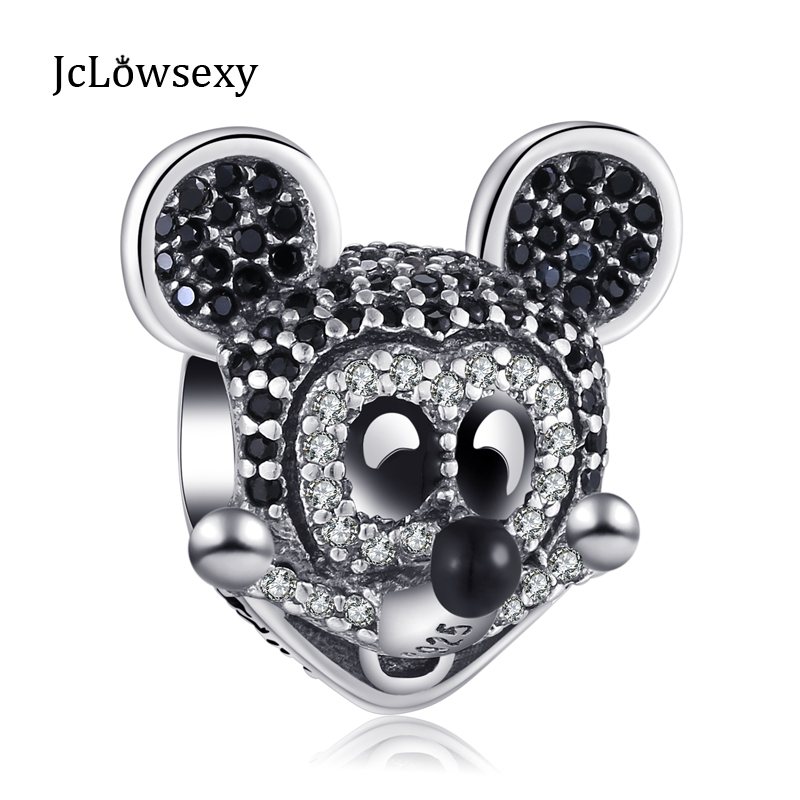 Authentic 100% 925 Sterling Silver Cute Mouse Full Cyrstal DIY Animal Bead Charms Fit Pandora Bracelets & Bangles Jewelry