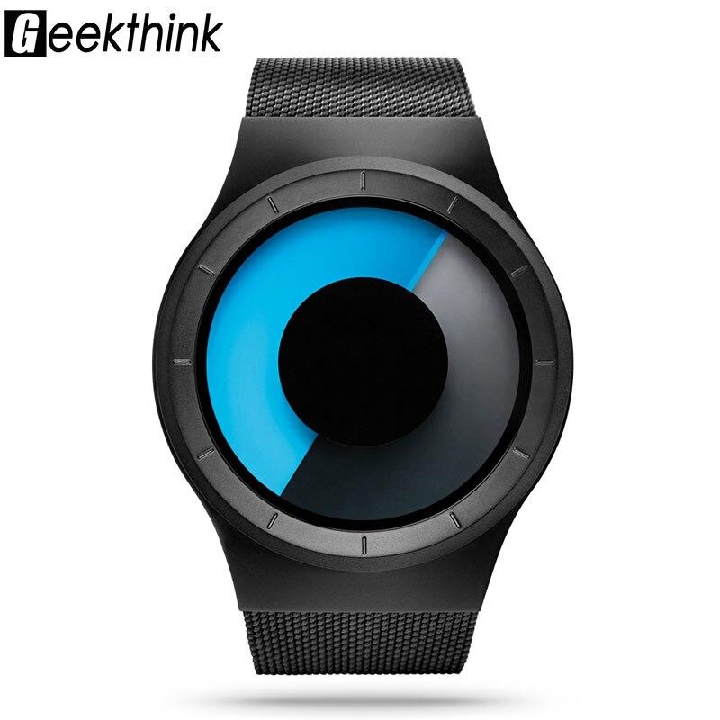 GEEKTHINK Top Luxus Marke Männer Quarzuhr Casual edelstahl Mesh Band Unisex Uhren Uhr Männliche weibliche Armbanduhren geschenk