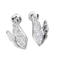 Glitter White Topaz 2 2mm Semi Precious Silver Cool For Womens Stud Earrings ED0021