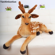large 85cm cute deer plush toy prone sika deer soft doll throw pillow birthday gift s0037