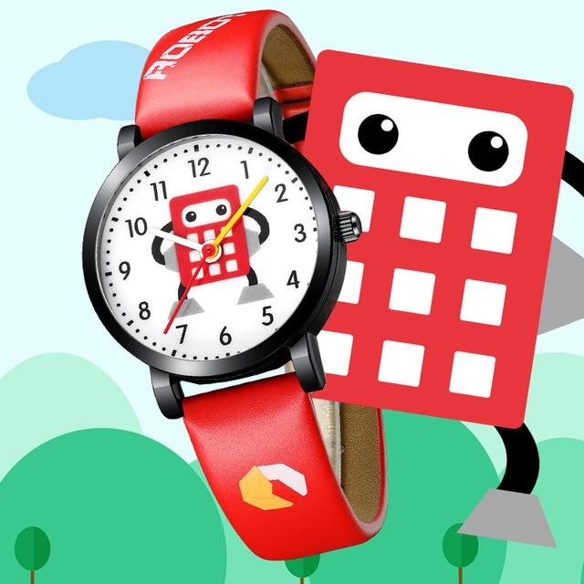 KDM Fashion Cartoon Robot Watches For Kids Children Waterproof Leather Straps Sport Wristwatch Quartz Watch Boy Girl Cute Clock