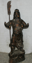 JP S62 46″ Chinese Bronze Stand Folk sword knife Guan Gong Yu Warrior God knight Statue B0403