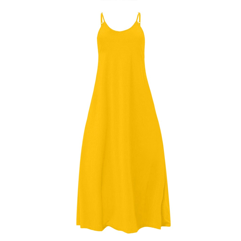 HTB1cgzLXLWG3KVjSZPcq6zkbXXa5 Plus Size Dress Women Summer Solid Maxi Dresses Sexy Spaghetti Straps Sleeveless Loose Long Dress With Pockets Casual Vestidos