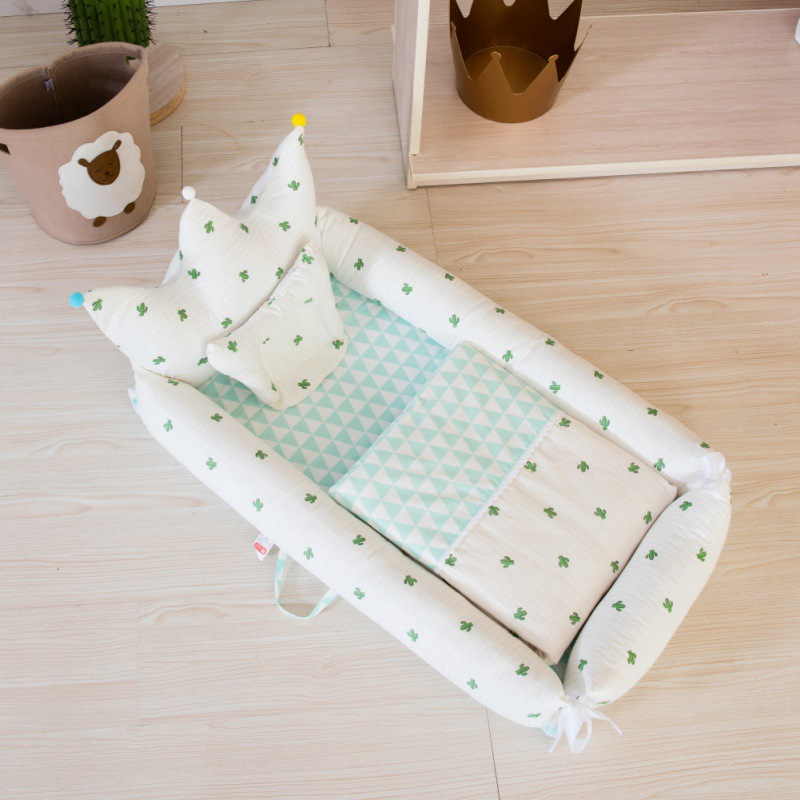 Baby Bedding for Bed Portable Baby Mattresses Cute for Newborn Crib Breathable and Sleep Nest with Pillow