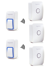 25 Tunes Wireless  Remote Control Doorbell Door Bell Chime,Two Buttons and Three Receivers No need battery,Water proof, AC220V