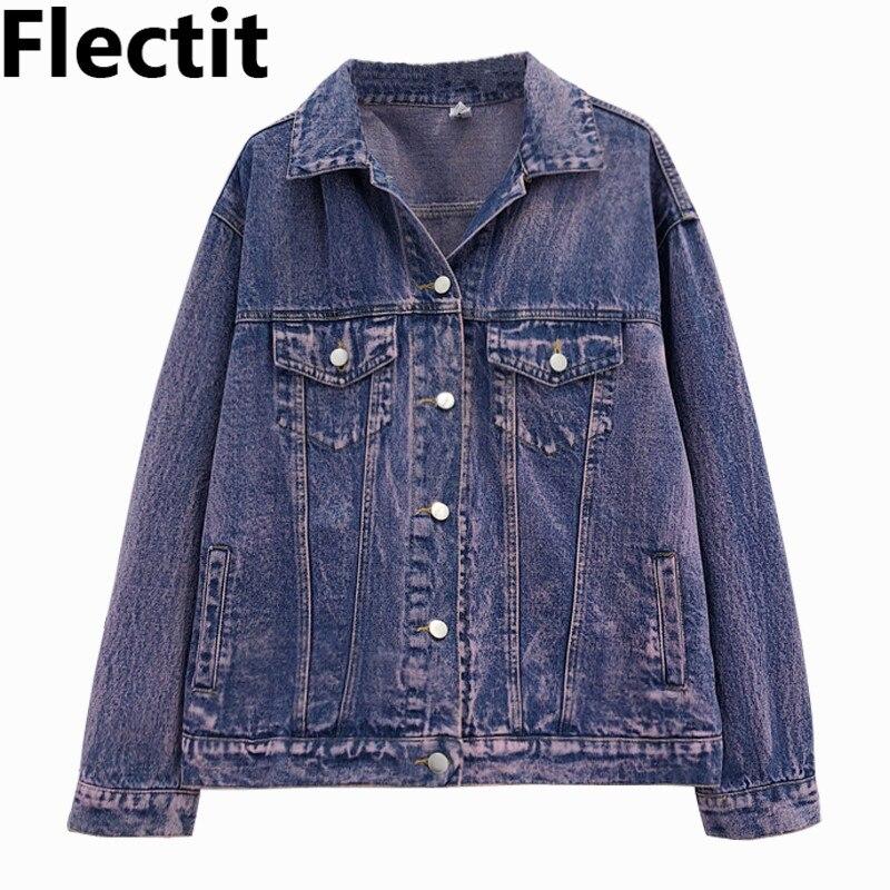 Flec 80s Vintage Denim Jacket For Women Stone Washed Purple Oversized Single Ted Jean Jackets Female Truck