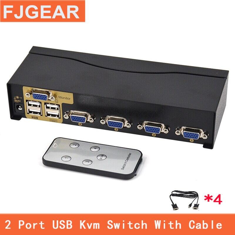 4 Port USB Kvm Switch VGA Splitter Schalter Adapter Drucker Verbinden Tastatur Maus 4 Computer Verwenden 1 Monitor