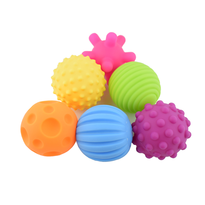 4@6 Pcs Textured Multi Ball Set Develop Baby's Tactile Senses Toy Baby Touch Hand Ball Toys Baby Training Ball Massage Soft Ball