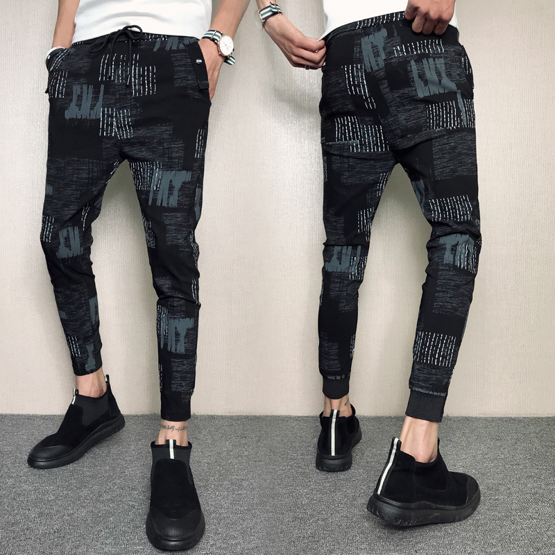 New social spirit guy plaid casual pants tide men's Slim pants casual hand red people casual fashion pants