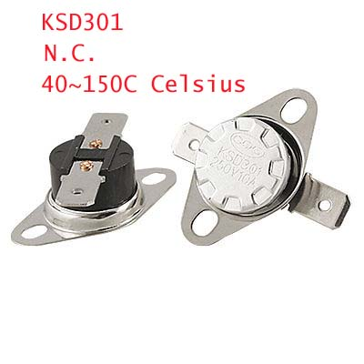 5 x 250V 10A Temperature Controlled Switch Thermostat 40~150C Celsius NC KSD301 90 celsius nc ksd302t model temperature controller thermostat ac 250v 20a