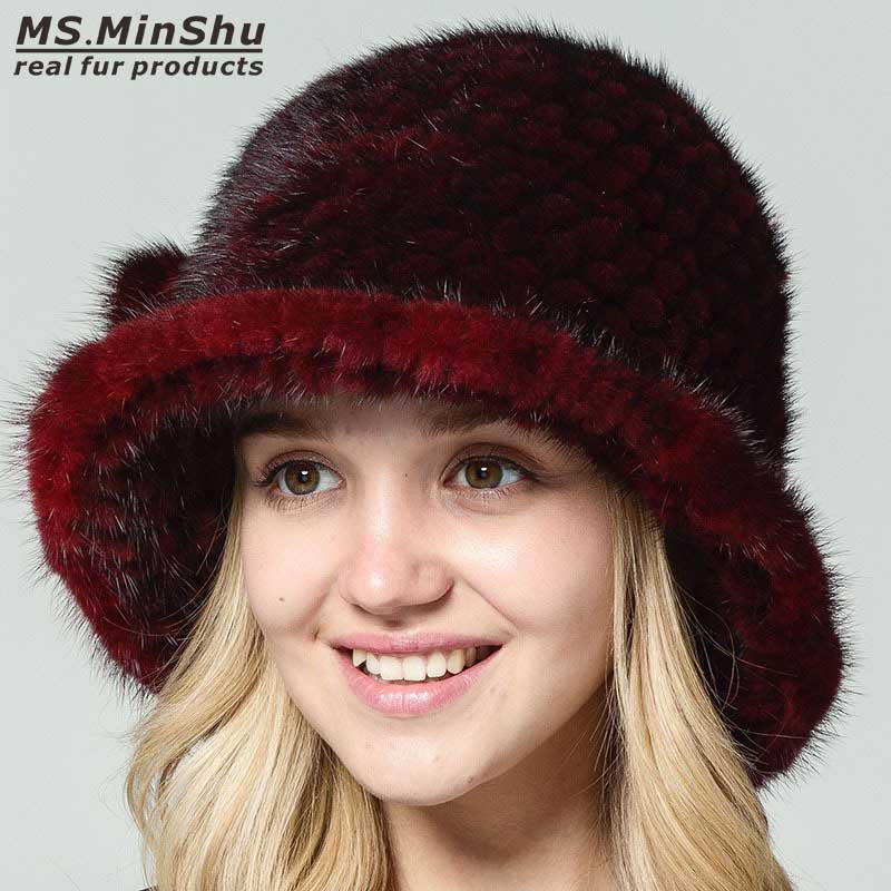 Ms.MinShu Genuine Mink Fur Hat Hand Knitted 100% Real Mink Fur Cap Winter Warm Hat Fashion Lady's Cap Women Hat