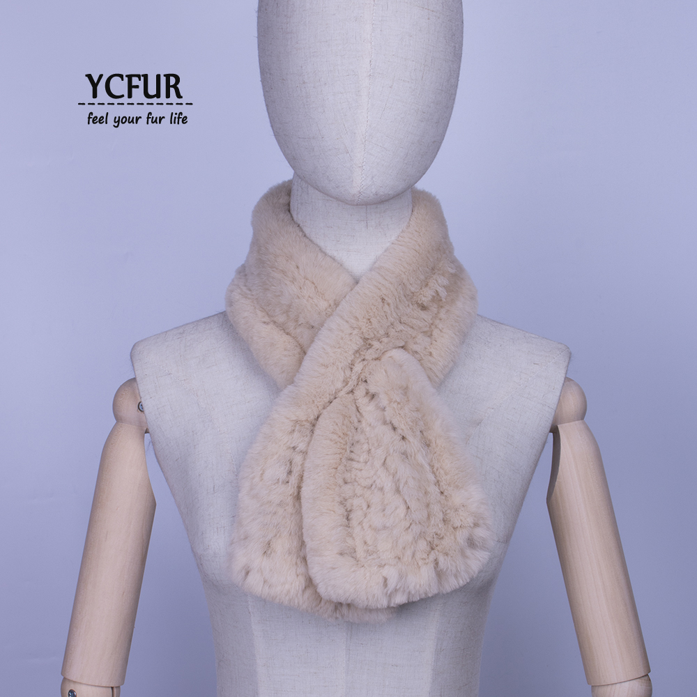 YCFUR Real Fur Scarf For Women Knit Rex Rabbit Wrap Female Simple Casual Lady Short Thick