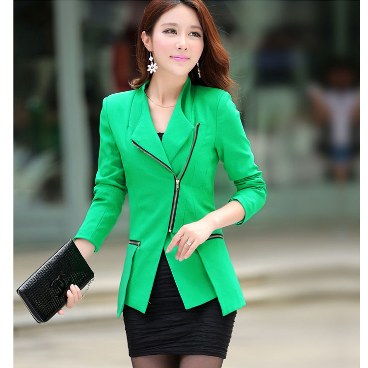 KAMON Brand Red Green Blue Blazer Women Suit Jacket V Neck Plus ...
