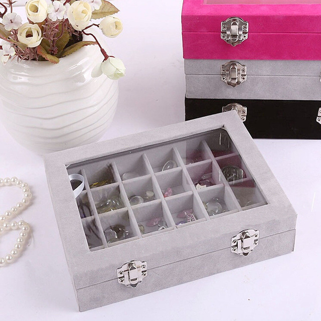 24 Grids Black Rose Red Velvet Jewelry Box Rings Earrings Necklaces