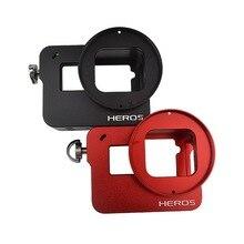 Metal frame de alumínio de proteção caso habitação shell capa protector com alça de pulso para câmera gopro hero 5