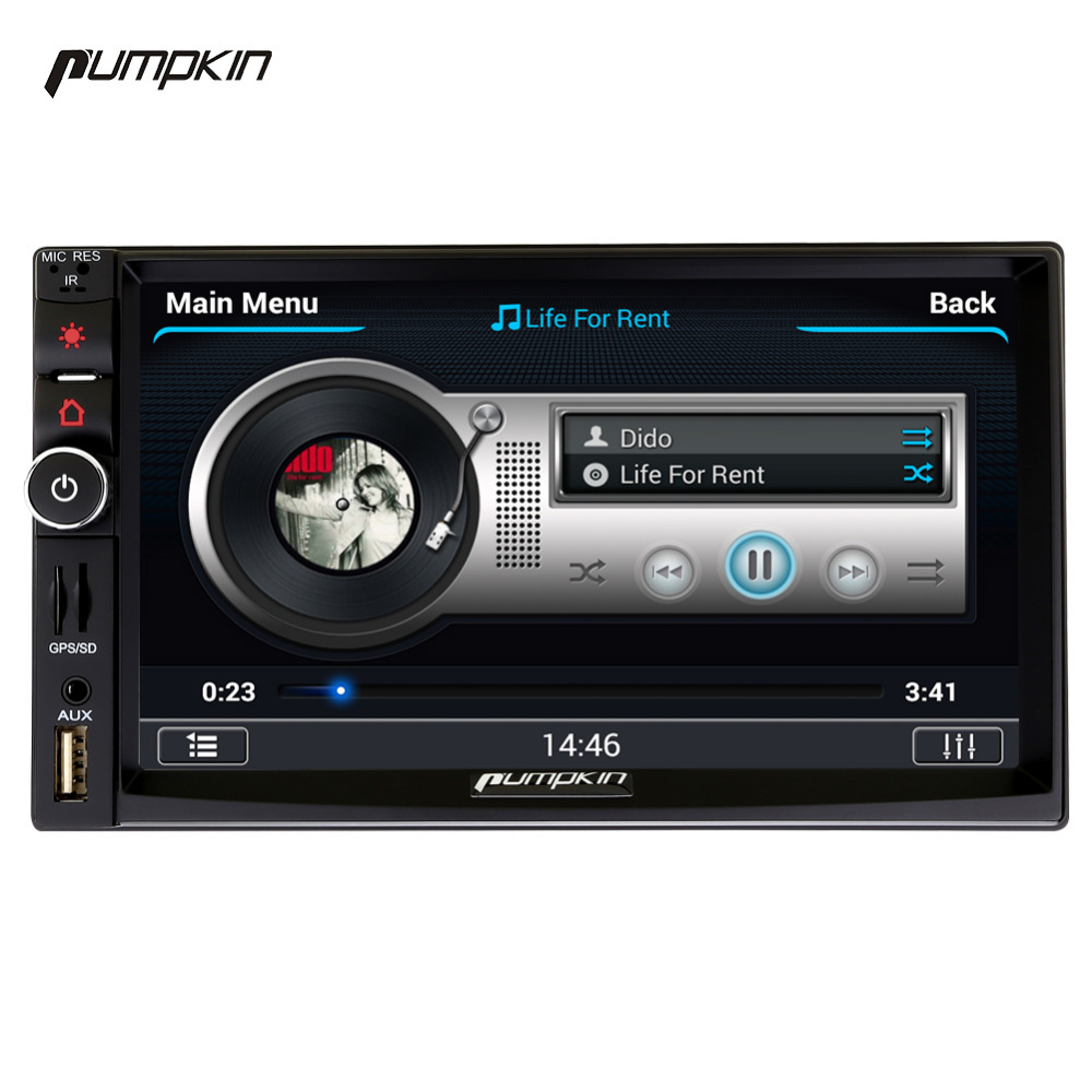 Pumpkin 2 Din Android 4.4 Univeral Car DVD Player 7 Inch GPS Navigation Car Radio FM Rds Maps Bluetooth Stereo 1080P Vedio Wifi