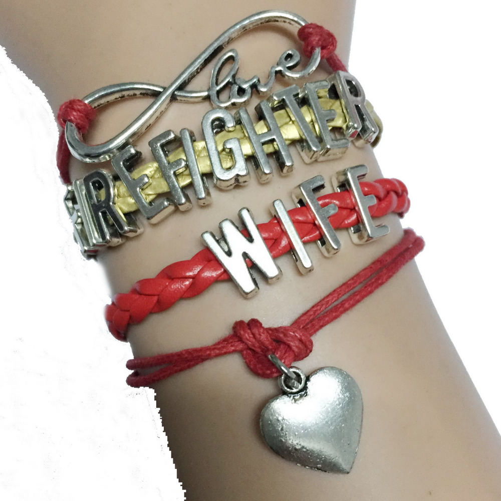 59c2d8b4514db Drop Shipping Infinity Love Firefighter Wife Heart Charm National Branch  Wrap Bracelet Red with Gold Leather Handmade-in Charm Bracelets from  Jewelry ...