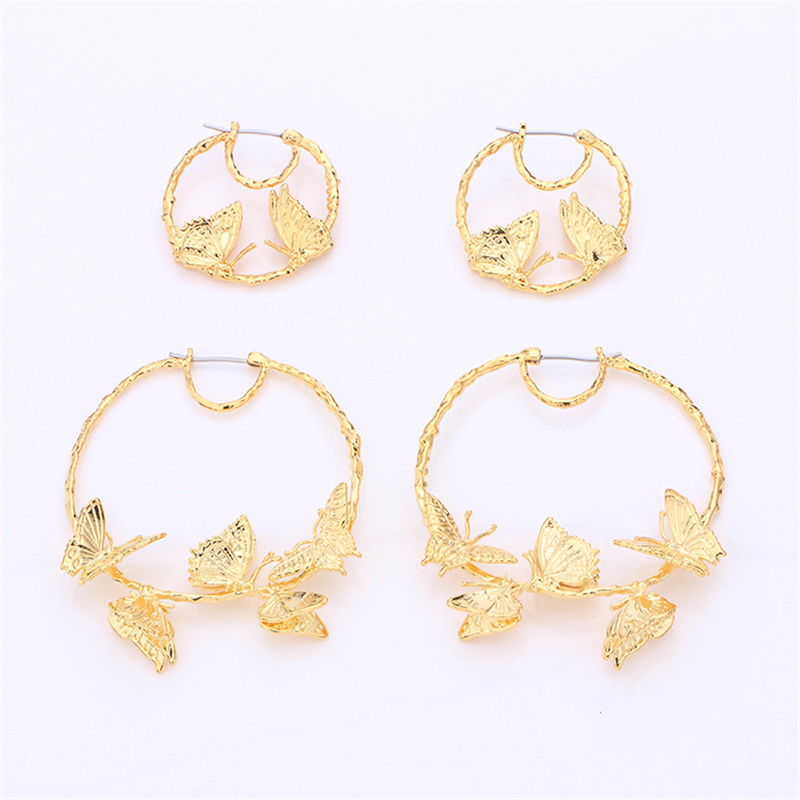 d5800bc0d779b US $18.0 |Aliexpress.com : Buy France Cute and fresh Original Classic  Golden Butterfly Big Small For Women Earrings from Reliable women earrings  ...