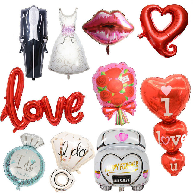Wedding Balloons Foil Groom Bride Love Ballon Anniversary Baloon Birthday Party Decorations Adult Baloes Event Party Supplies