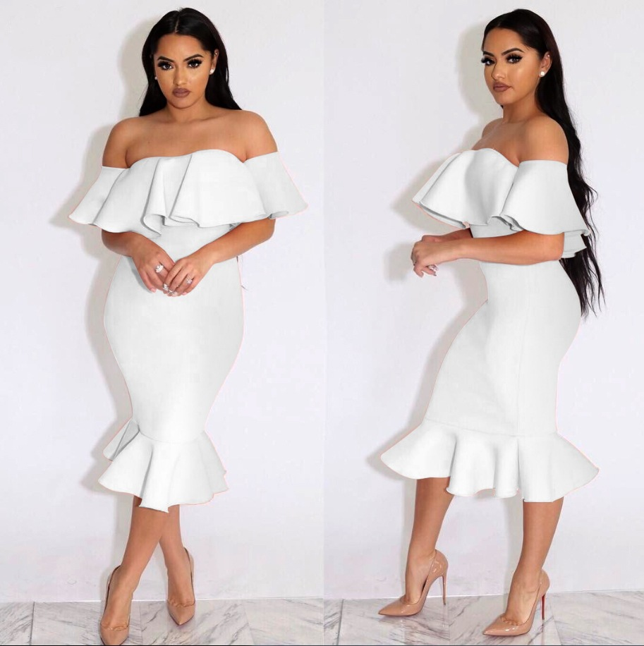 b3be4a231da OMILKA Ruffle Dress 2019 Hot Summer Women Off Shoulder Bodycon Dress Sexy  Pink White Rose Sleeveless Club Party Midi Vestidos-in Dresses from Women's  ...