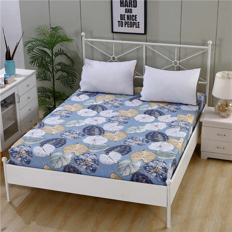 LAGMTA 1pc 100% Cotton Printing Cartoon Plant Plaid Fitted Sheet Mattress Cover Four Corners With Elastic Band Bed Sheet
