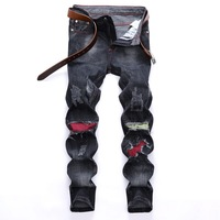 Fashion city brand boutique trousers Europe United States hole cut rotten patch decoration folds white trend elastic jeans men