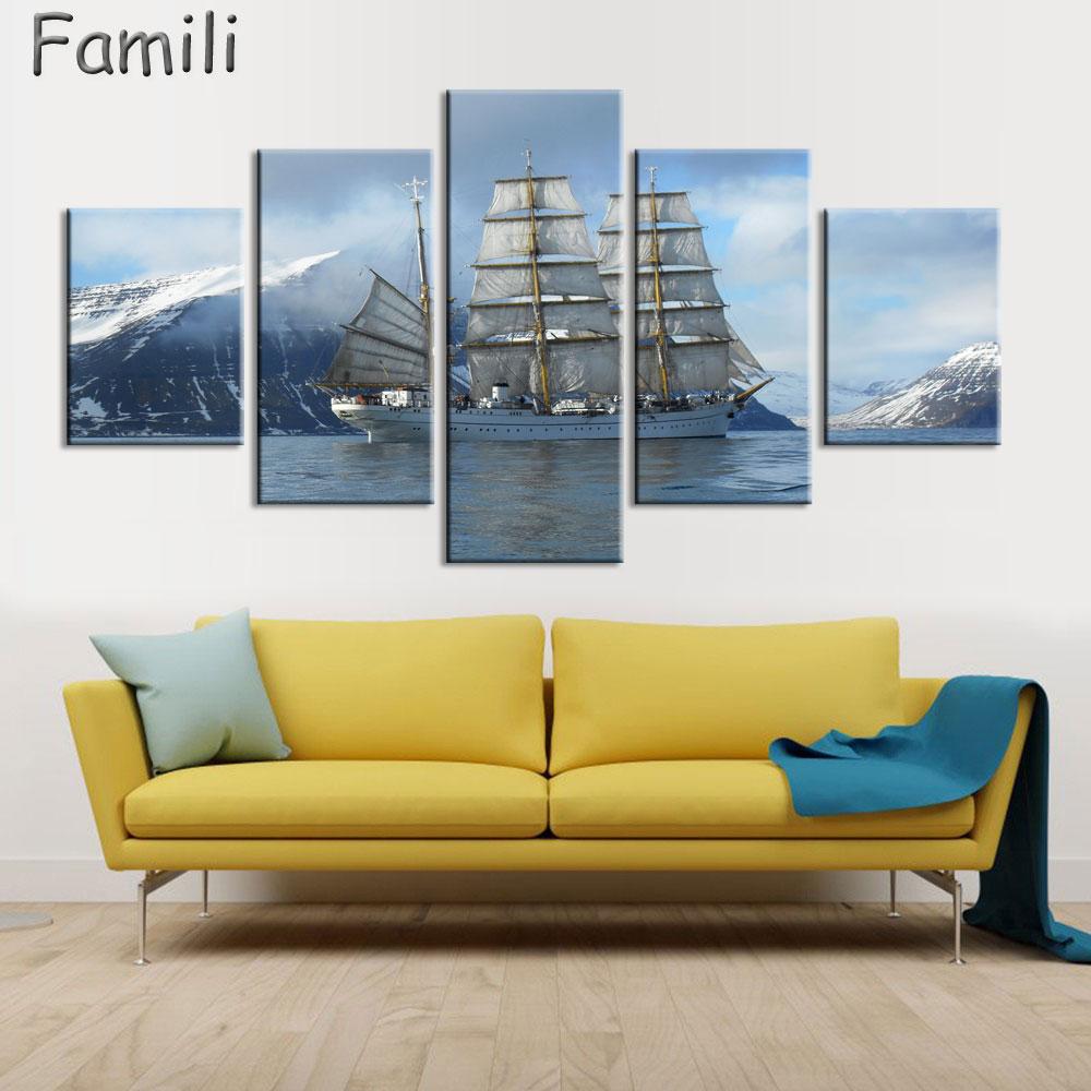 Modern Canvas Prints Artwork Seascape Sailboat 5Pcs/set Sea Photo ...