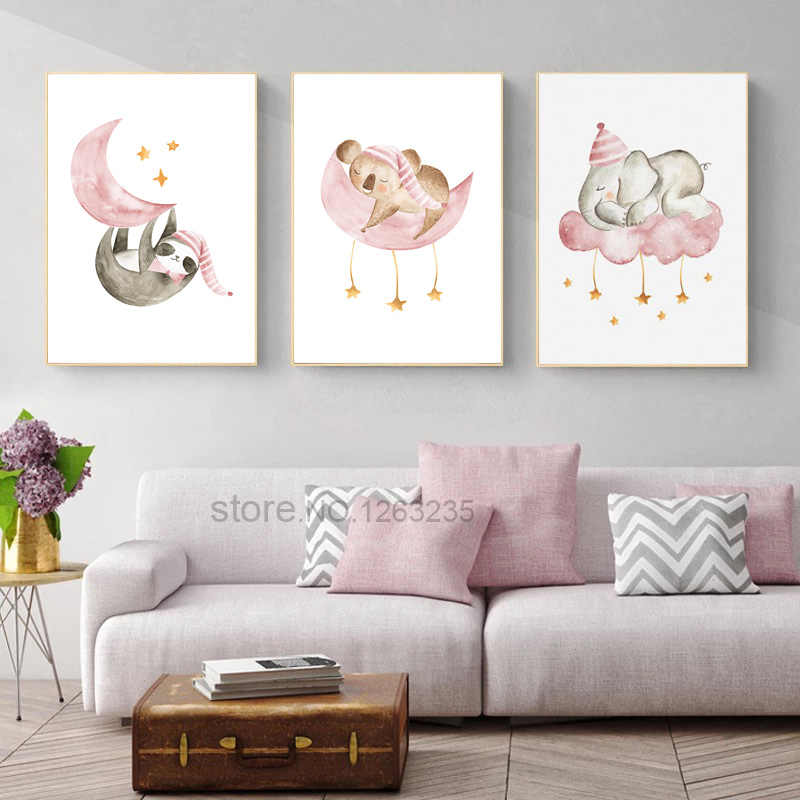 Cartoon Baby Animals Nursery Nordic Poster Sweet Dream Wall Art Posters Koala Prints Canvas Painting Kids