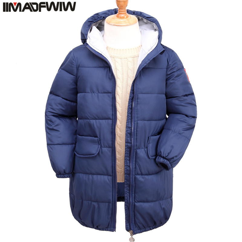 IIMADFWIW Boys and Girls Winter Coat Cotton padded Jacket Outerwear Parka Hooded Fashion For Children women winter coat jacket 2017 hooded fur collar plus size warm down cotton coat thicke solid color cotton outerwear parka wa892