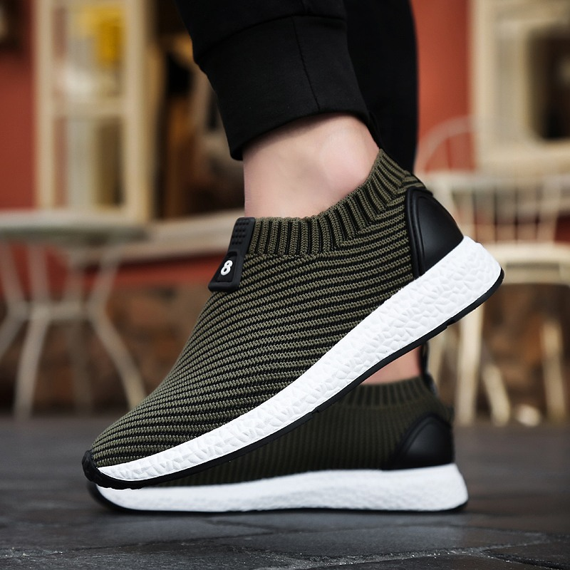 Men running Shoes Moccasins Leather Suede Krasovki Men Loafers 2017 Summer Flying line weaving Male Luxury Brand sport shoes