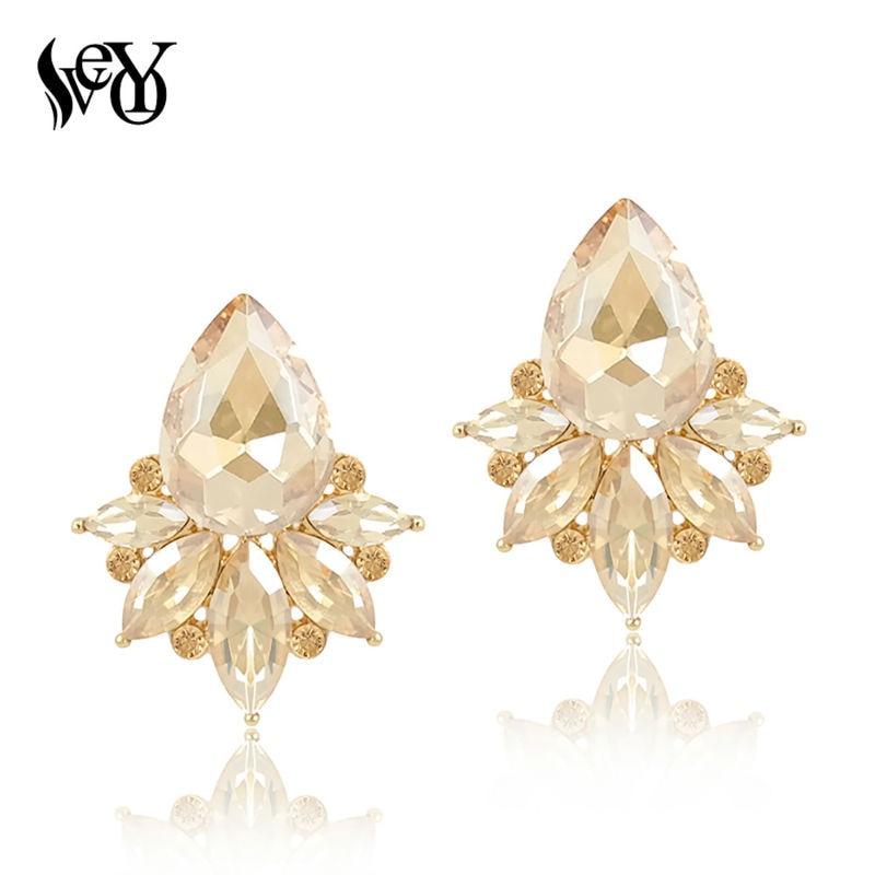 VEYO Kristal Stud Earrings Untuk Wanita Anting Fashion Perhiasan brincos Pendientes Elegan