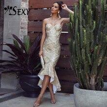 Gosexy Elegant Women Bandage Dresses Sexy Sleeveless Strapless Elegant Clubwears Celebrity Party Runway Dress 2019 Vestidos New