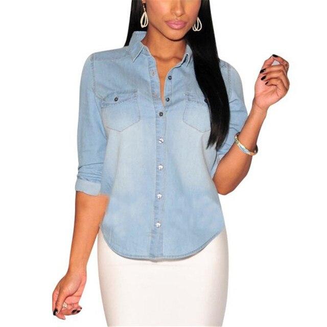 bc70327c7 Las mujeres de manga larga solapa botón abajo camisa de Jean bolsillo Slim  Top blusa abrigo