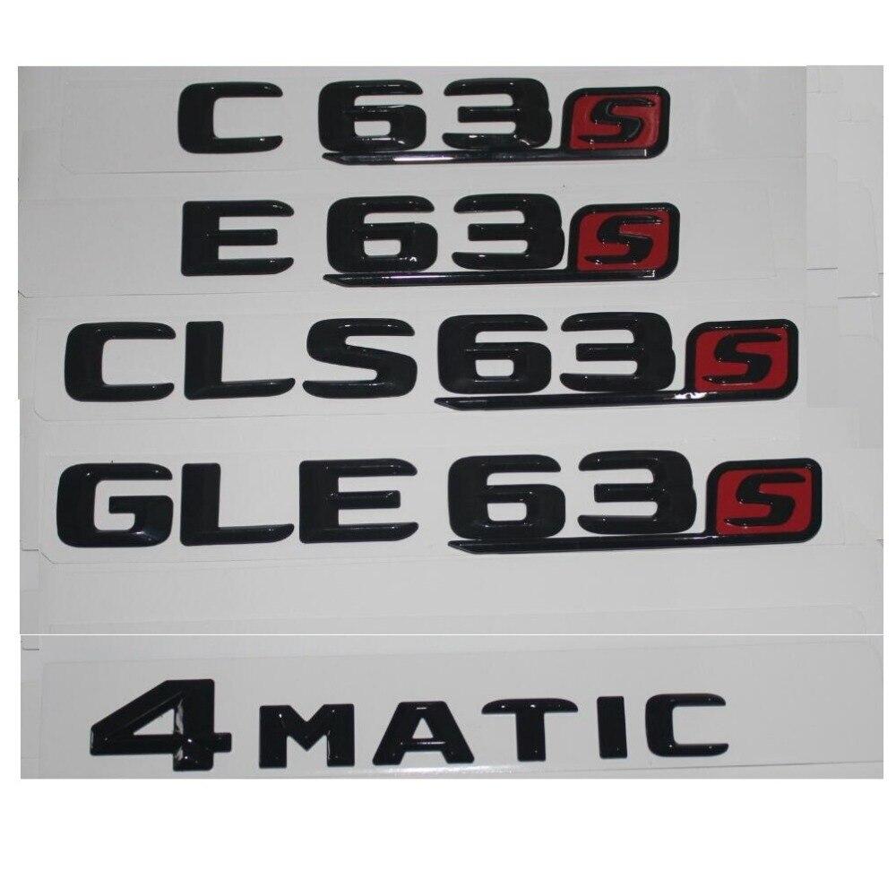 Brillant Noir Tronc Fender Lettres Nombre Emblème Emblèmes Badges pour Mercedes Benz C63 C63s E63 E63s CLS63 GLE63 GLS63 AMG S 4 MATIC