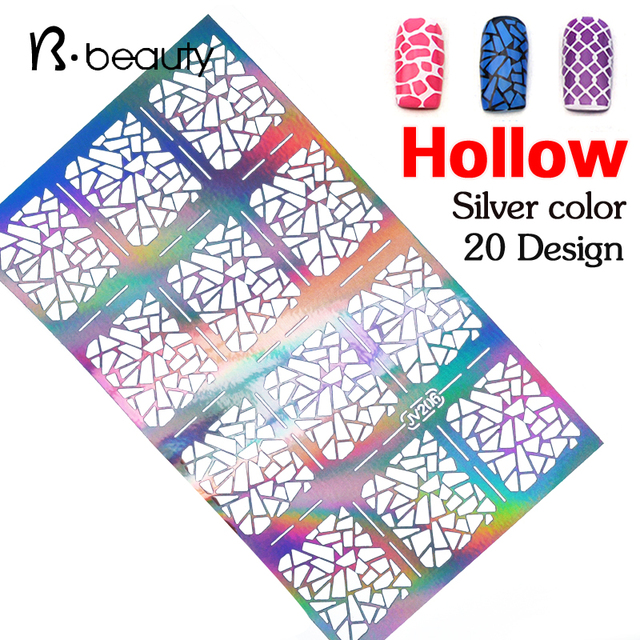 1sheet silver hollow nail art template stencil stickers fish scale