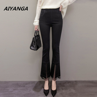 New Elasticity flare pants for women slim office lady elegant ankle-length fashion patchwork mesh elastic waist trousers female