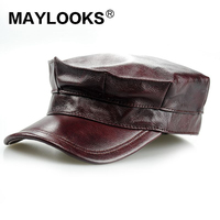 Maylooks Fashional Men's Military Cap Hat Brand New Bonnet Femme Genuine Leather Adult Solid Adjustable Army Hats/caps Cs10