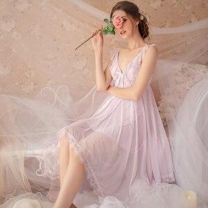 Image 3 - Fadas Retro Palácio Do Vento Doce Princesa Roupa de Dormir Primavera e No Verão Nightgowns Sleepshirts Nightdress Lace gola V Housewear