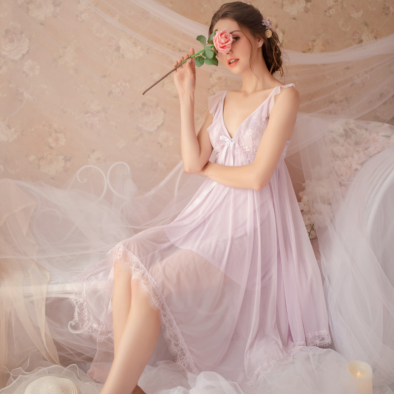 Image 3 - Fairy Retro Palace Wind Sweet Princess Nightwear Spring and Summer Nightdress Lace V collar Housewear Nightgowns SleepshirtsNightgowns & Sleepshirts   -