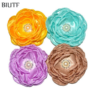 3pcs/lot 4'' Burned 7-layer Satin Flower with Diamond Girl Gashion Hair Clip DIY Boutique Accessories TH282(China)