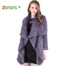 ZDFURS* Новая шуба из натурального кроличьего меха, Модный женский вязаный кроличий мех, куртка, зимняя теплая верхняя одежда из кроличьего меха, ZDKR-165003