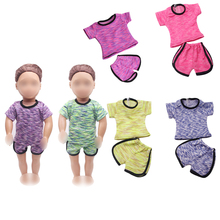 18 inch Girls doll clothes  6 colors Sportswear ball suit 2 pcs American new born dress fit 43 cm baby accessories c212