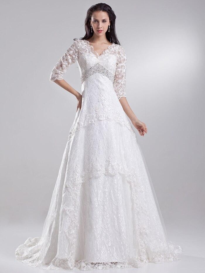 Popular bridal dresses for mature brides buy cheap bridal for Mature wedding dresses with sleeves