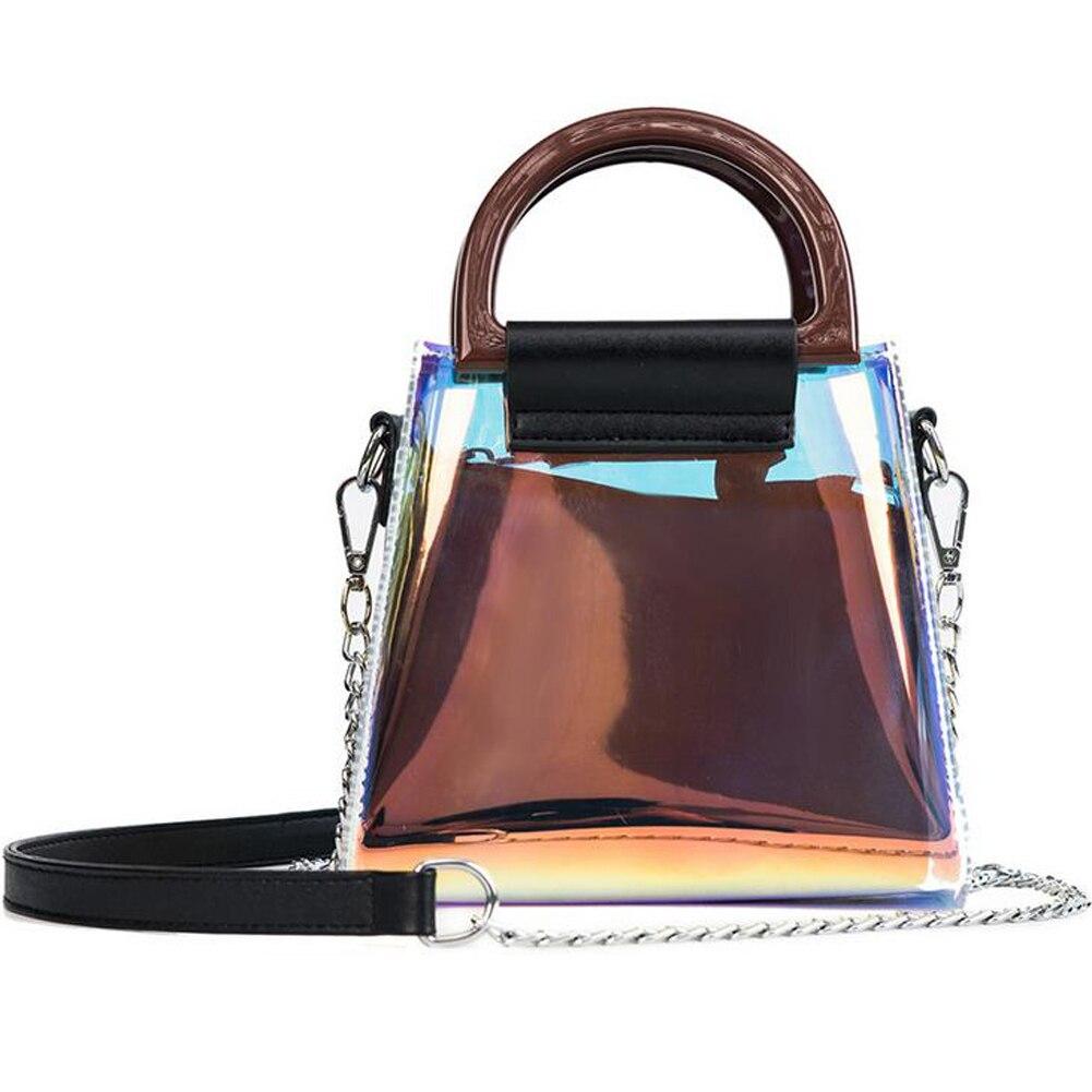 Us 2144 45 Offfashion Transparent Shoulder Bag Laser Women Leather Handbags 2pcs Composite Bags Wooden Handle Beach Bag Clear Tote Bags In