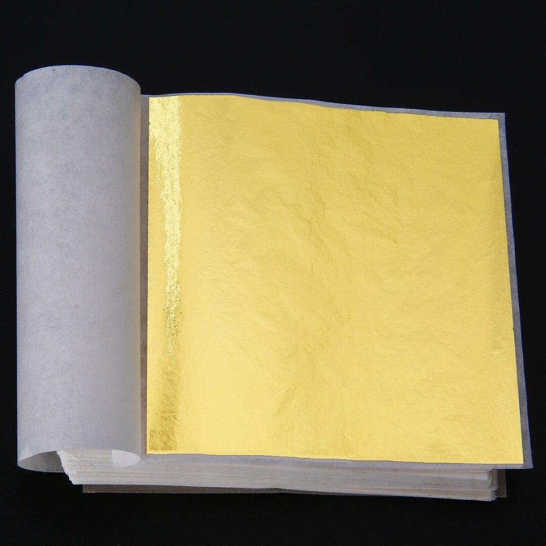 Mayitr 100 Sheets Gold Foil Leaf Sheets Gilding Handicrafts Paper