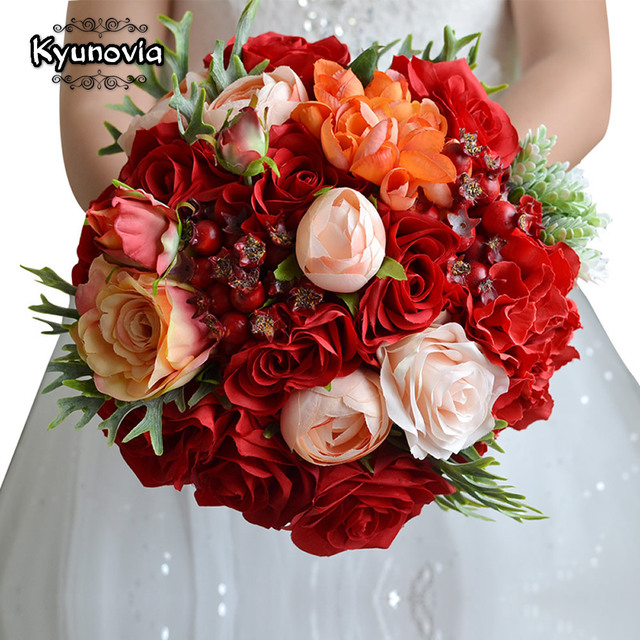 Kyunovia زهور الزفاف باقة الزفاف الأحمر الورود باقة الزفاف اكسسوارات