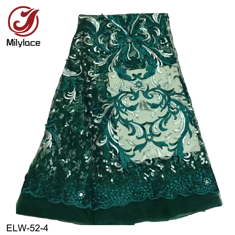 Sexy design 2018 Christmas sale french lace fabric with beads embroidery tulle lace fabric 5 yards lace african lace ELW-52Sexy design 2018 Christmas sale french lace fabric with beads embroidery tulle lace fabric 5 yards lace african lace ELW-52