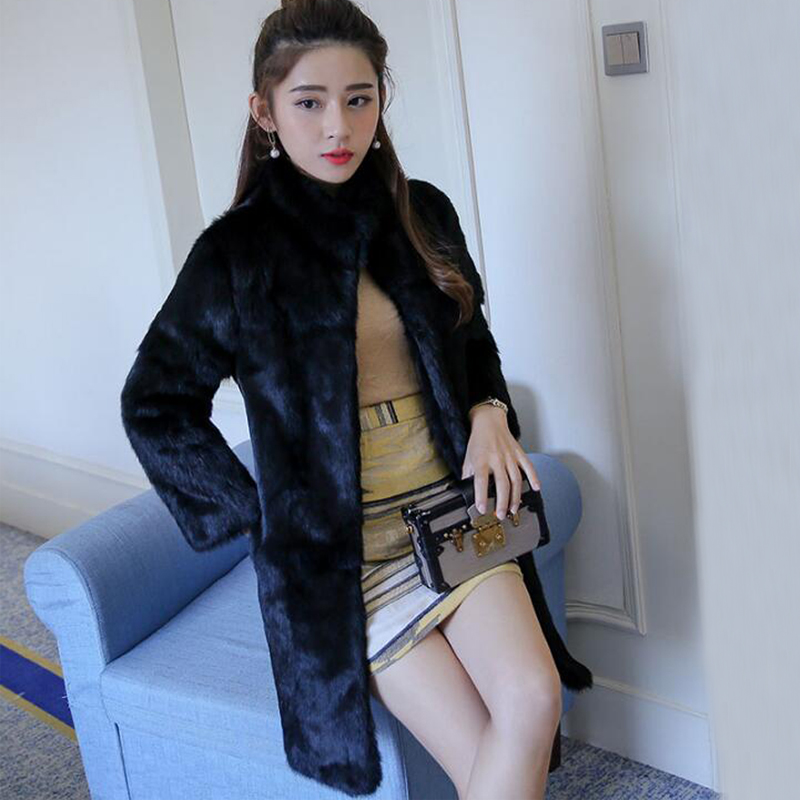 2019 New Arrival TONFUR Natural Full Whole Skin Genuine Rabbit Fur Coat With Keep Warm Mandarin Collar For Lady Sr335