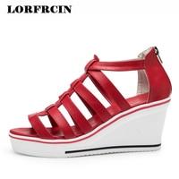 Gladiator Sandals Women Wedges Platform Sandal Leather Peep Toe Zip High Heels Women's Sandals Summer Shoes For Woman Plus Size